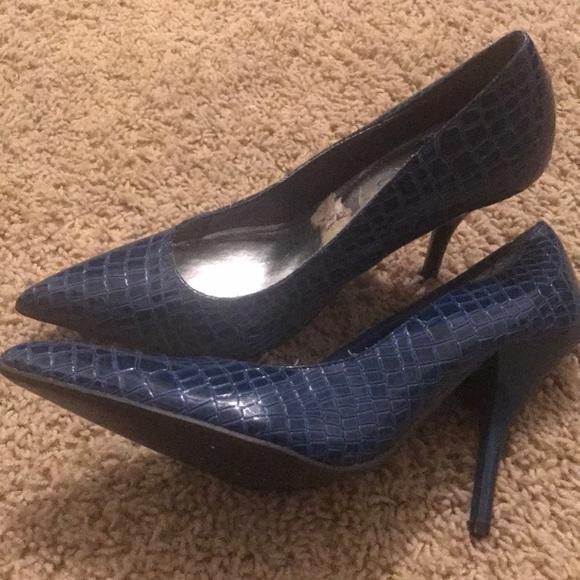 Dollhouse Shoes - Blue Snakeskin Heels